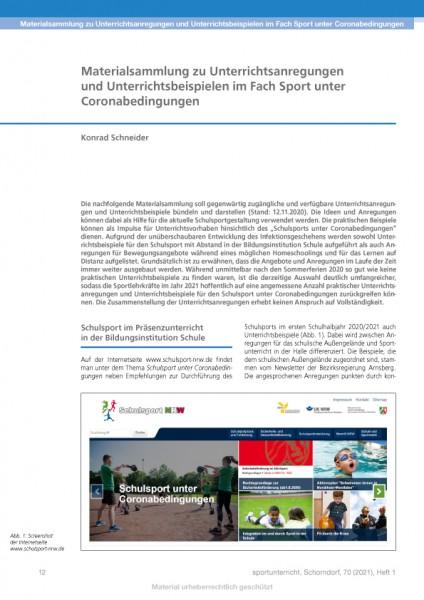 Materialsammlung zu Unterrichtsanregungen und -beispielen im Fach Sport unter Coronabedingungen