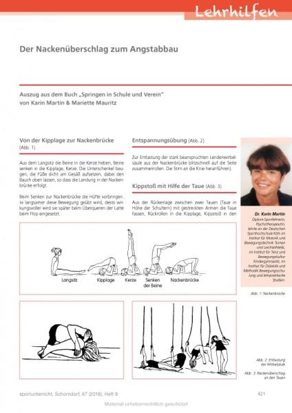 """Der Nackenüberschlag zum Angstabbau - Auszug aus dem Buch """"Springen in Schule und Verein"""" von Karin"""
