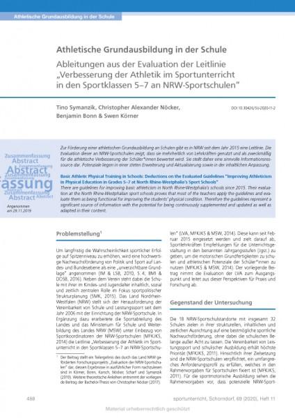 Athletische Grundausbildung in der Schule