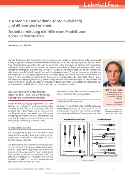 Tischtennis: Den Vorhand-Topspin vielseitig und differenziert erlernen - Technikvermittlung mit Hilf