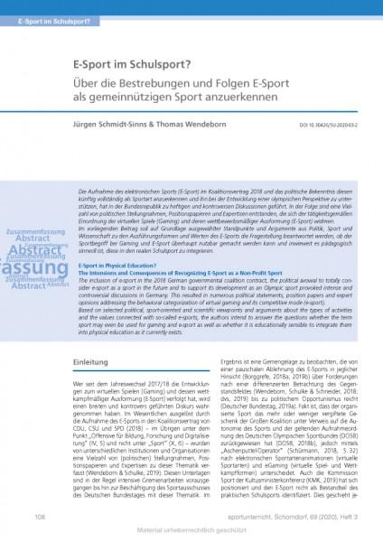 E-Sport im Schulsport? Bestrebungen und Folgen E-Sport als gemeinnützigen Sport anzuerkennen