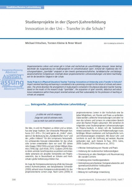 Studienprojekte in der (Sport-)Lehrerbildung - Innovation in der Uni – Transfer in die Schule?