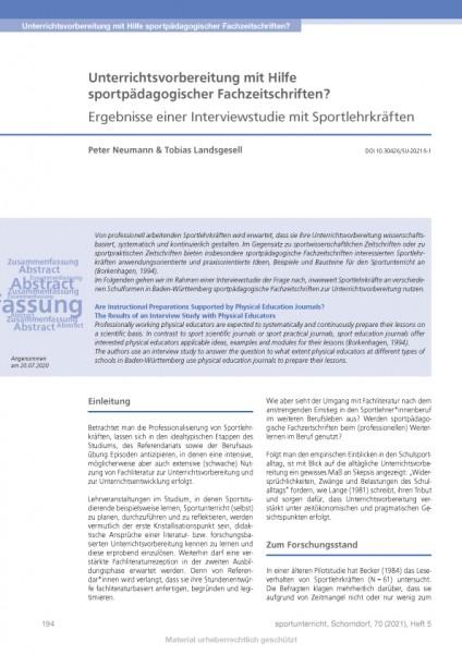 Unterrichtsvorbereitung mit Hilfe sportpädagogischer Fachzeitschriften?