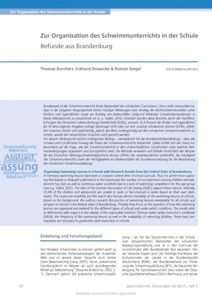 Zur Organisation des Schwimmunterrichts in der Schule Befunde aus Brandenburg