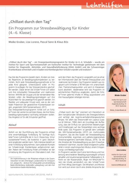 """""""Chillaxt durch den Tag"""" - Ein Programm zur Stressbewältigung für Kinder (4.-6. Klasse)"""