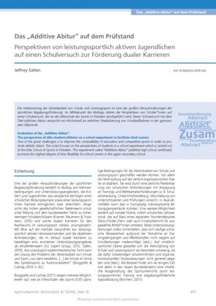 """Das """"Additive Abitur"""" auf dem Prüfstand - Perspektiven von leistungssportlich aktiven Jugendlichen a"""