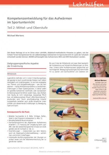 Kompetenzentwicklung für das Aufwärmen im Sportunterricht - Teil 2: Mittel- und Oberstufe