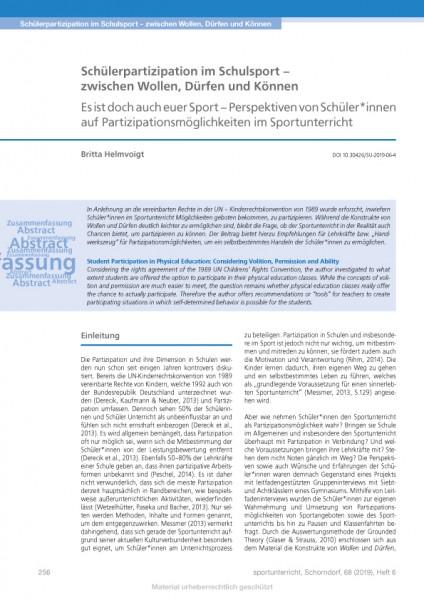 Schülerpartizipation im Schulsport – zwischen Wollen, Dürfen und Können