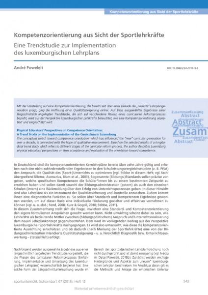 Kompetenzorientierung aus Sicht der Sportlehrkräfte - Trendstudie zum luxemburgischen Lehrplan