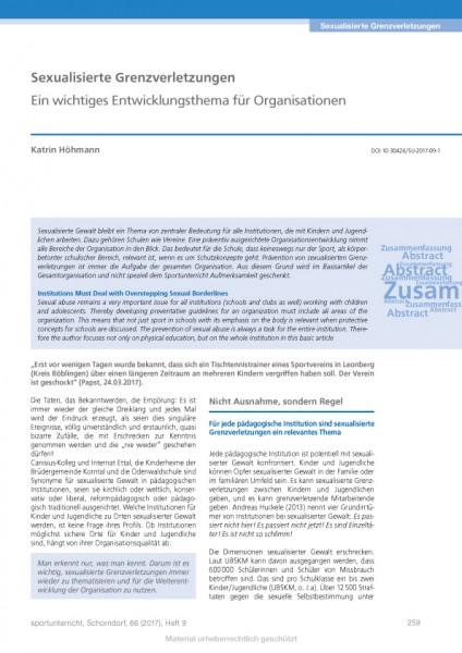 Sexualisierte Grenzverletzungen - Ein wichtiges Entwicklungsthema für Organisationen