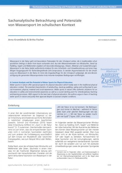 Sachanalytische Betrachtung und Potenziale von Wassersport im schulischen Kontext