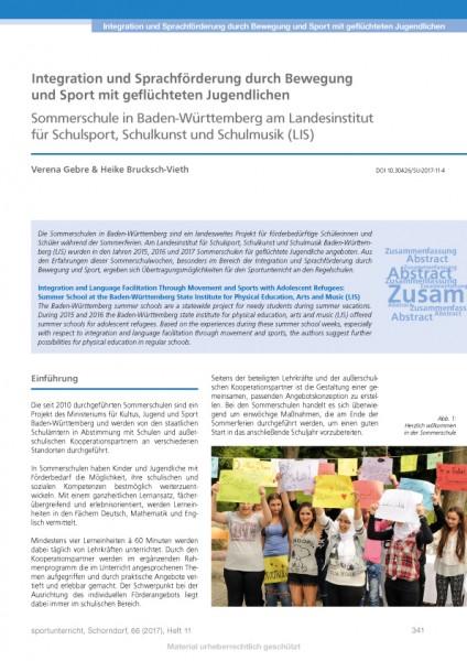 Integration und Sprachförderung durch Bewegung und Sport mit geflüchteten Jugendlichen