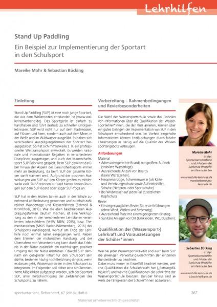 Stand Up Paddling - Ein Beispiel zur Implementierung der Sportart in den Schulsport