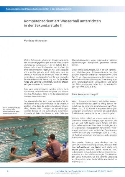 Kompetenzorientiert Wasserball unterrichten in der Sekundarstufe II