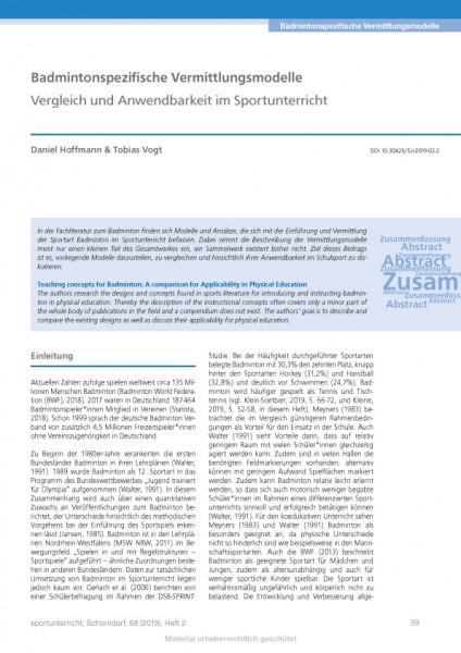 Badmintonspezifische Vermittlungsmodelle - Vergleich und Anwendbarkeit im Sportunterricht