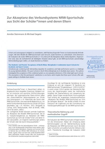 Zur Akzeptanz des Verbundsystems NRW-Sportschule aus Sicht der Schüler*innen und deren Eltern