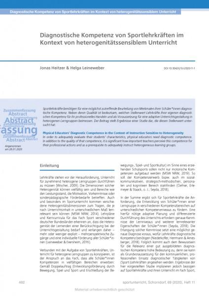 Diagnostische Kompetenz von Sportlehrkräften im Kontext von heterogenitätssensiblem Unterricht