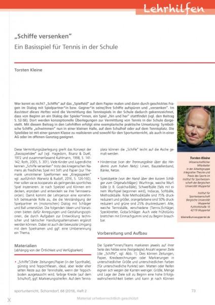 """""""Schiffe versenken"""" - Ein Basisspiel für Tennis in der Schule"""