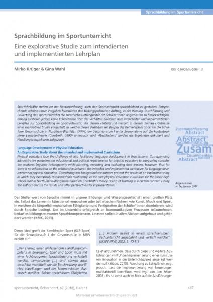 Sprachbildung im Sportunterricht - Eine explorative Studie zum intendierten und implementierten Leh