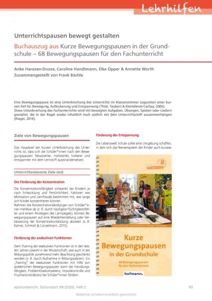Unterrichtspausen bewegt gestalten - Buchauszug aus Kurze Bewegungspausen in der Grundschule – 68 Be