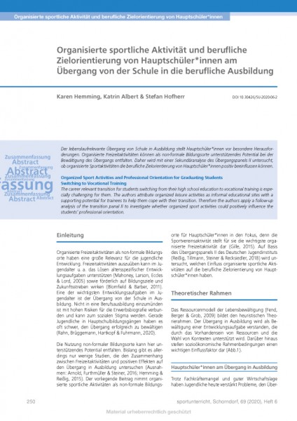 Organisierte sportliche Aktivität und berufliche Zielorientierung von Hauptschüler*innen [...]