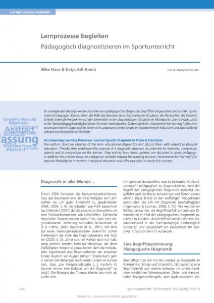 Lernprozesse begleiten - Pädagogisch diagnostizieren im Sportunterricht