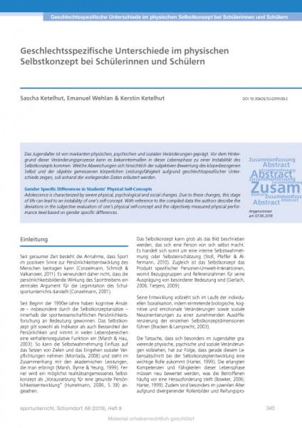 Geschlechtsspezifische Unterschiede im physischen Selbstkonzept bei Schülerinnen und Schülern