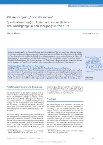 """Klassenprojekt """"Sportabzeichen"""" - Sport(-abzeichen) im Freien und in der Halle"""