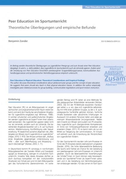 Peer Education im Sportunterricht - Theoretische Überlegungen und empirische Befunde