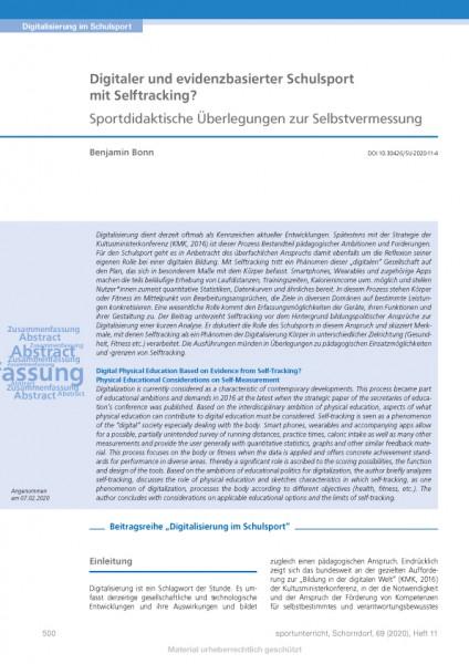 Digitaler und evidenzbasierter Schulsport mit Selftracking? Sportdidaktische Überlegungen