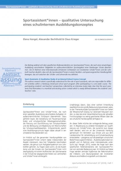 Sportassistent*innen – qualitative Untersuchung eines schulinternen Ausbildungskonzeptes