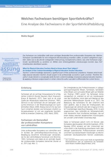 Welches Fachwissen benötigen Sportlehrkräfte? - Eine Analyse des Fachwissens in der Sportlehrkräfteb