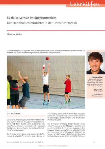 Soziales Lernen im Sportunterricht - Der Handballschiedsrichter in der Unterrichtspraxis