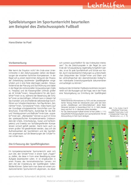 Spielleistungen im Sportunterricht beurteilen am Beispiel des Zielschussspiels Fußball
