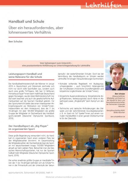 Handball und Schule - Über ein herausforderndes, aber lohnenswertes Verhältnis