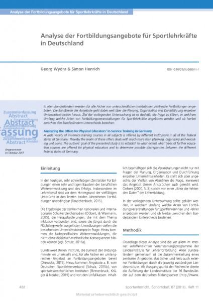 Analyse der Fortbildungsangebote für Sportlehrkräfte in Deutschland