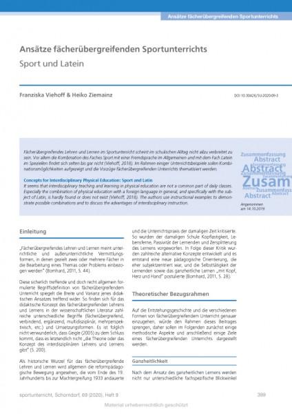 Ansätze fächerübergreifenden Sportunterrichts - Sport und Latein
